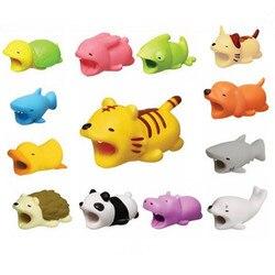 Livraison directe poupée Animal câble protecteur pour Iphone câble chien morsure lapin chat poupée modèle jouets 2*2*4cm avec Blister carte paquet