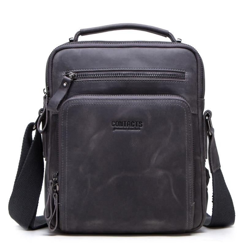Mężczyźni torba z prawdziwej skóry torba na ramię Crossbody Retro małe męskie Pack powrotem Mochila Flap podróży służbowych torebki prezent w Torby z długim paskiem od Bagaże i torby na  Grupa 2