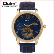 2016 OULM Skeleton Winner Mechanical Watch Relojs Gold Watch Nomo Designer Watch Men Clock Sport Relogio Leather Rosefiel Whach