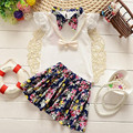 Kids Girls clothing set 2016 summer korean 2-5T flower cotton suit t shirt and skirt two pieces set new arrival Children clothes