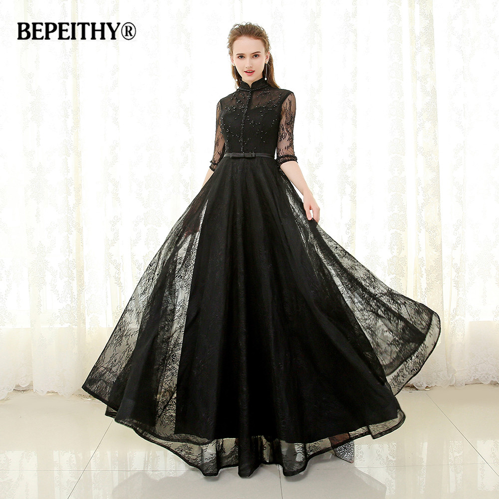 BEPEITHY High Collar Long Evening Dress Formal Gowns Half Sleeves Vestido De Festa 2019 Full Length