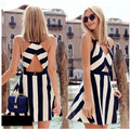 GERTU 2016 Summer Sleeveless Vest Cross Dress Sexy Black White Striped V Neck Collar Dresses  A - Line Vestidos Elegant Dress