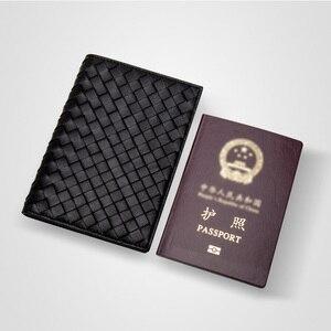 Image 3 - גברים באיכות גבוהה עור כבש אמיתי עור מזהה כרטיס דרכון כיסוי ארנק ארוג רב פונקצית כרטיס מחזיק עסקי נסיעות ארנק