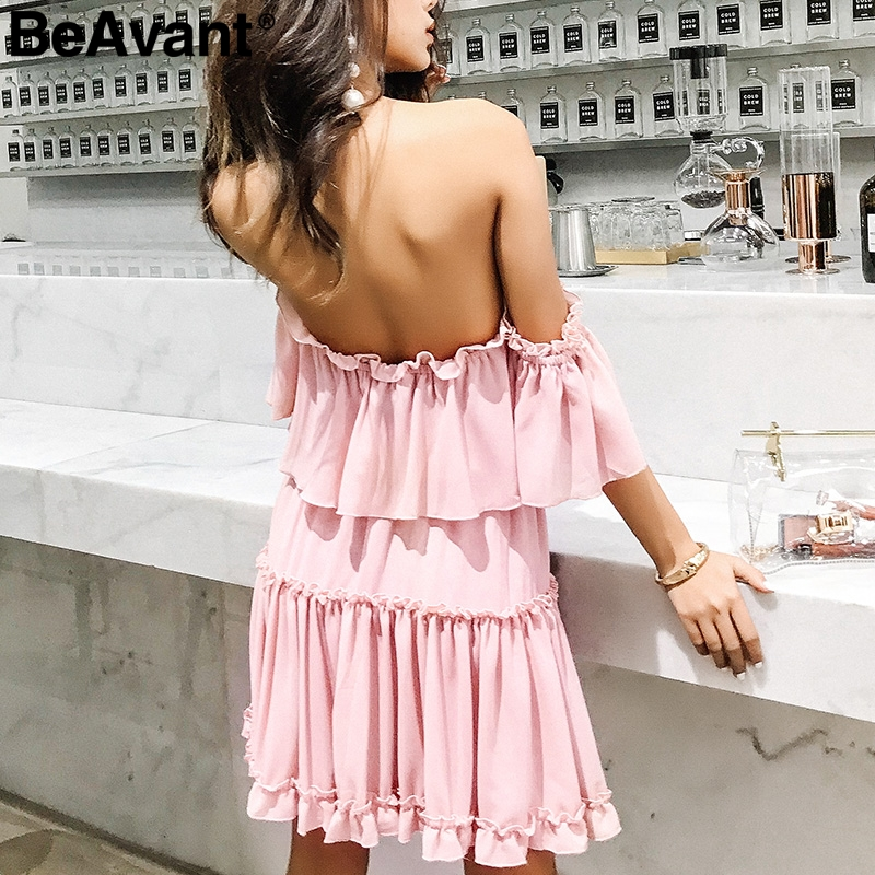 72ec5f9083e4e0d Купить BeAvant сексуальное летнее платье с открытыми плечами с рюшами и  открытой спиной мини платье женское повседневное шифоновое Короткое Платье  Ж..