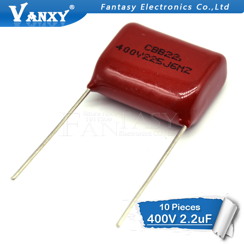 10PCS 400V225J 2.2UF Pitch 20M  225J400V 225 400V 2200PF CBB Polypropylene Film Capacitor