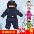 Новорожденный ребенок ползунки боди вниз зима мужчины с капюшоном вниз пальто утолщение ползунки плюс бархат имеет