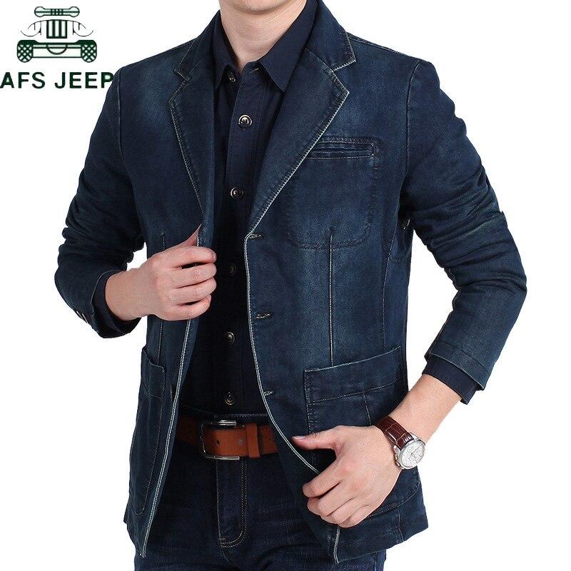 AFS JEEP Brand Denim Blazer Men Autumn Winter Cotton Denim Smart Casual Men Jacket Slim Fit Suits Plus Size 4XL blazer masculino-in Blazers from Men's Clothing    2