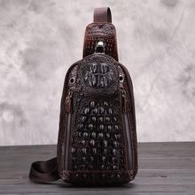 цена на YIANG  Men Vintage Men Genuine Leather Crocodile Travel Shoulder Cross Body Messenger Sling Pack Chest Bag
