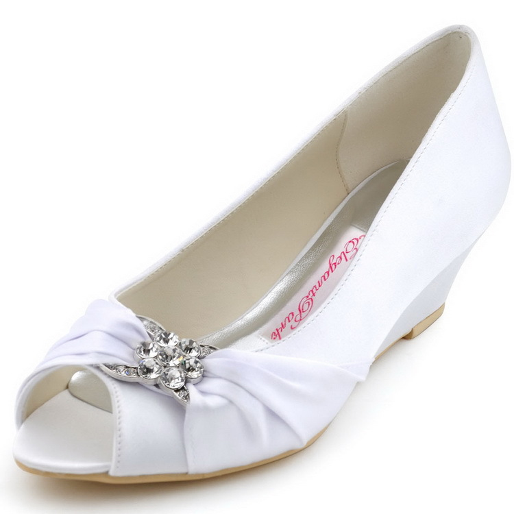 e8df2e273 Woman Wedding Wedges WP1403 White Ivory Silver Peep Toe Rhinestone Med Heels  Satin Ladies Bride Bridal Shoes Prom Dress Pumps-in Women's Pumps from Shoes  on ...