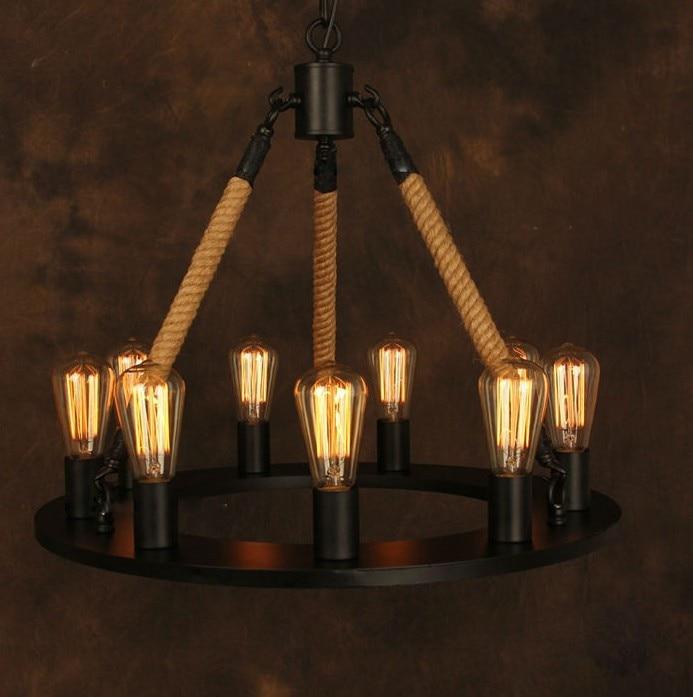 Antike Seil Eisen Anhnger Kronleuchter Lampe Schwarz Metall Lighitng Leuchte Fr Wohnzimmer Schlafzimmer Restaurant Esszimmer