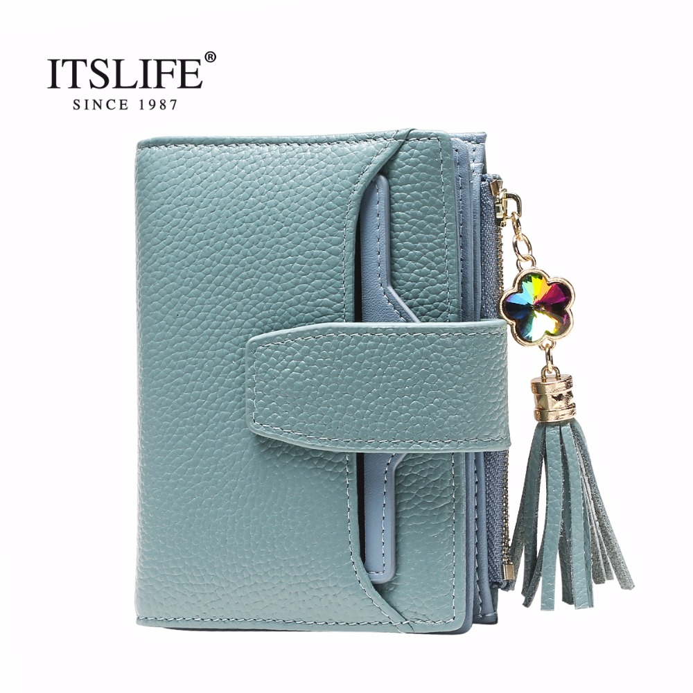New arrival women s genuine leather short wallet tassel zipper purse with removable card holder Trifold
