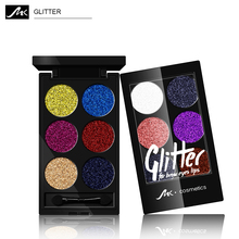 MK 6colors Diamond Golden Cosmetic Powder Eyeshadow Palette Glitter Pigment Makeup Powder Blink Pressed Powder Shadow