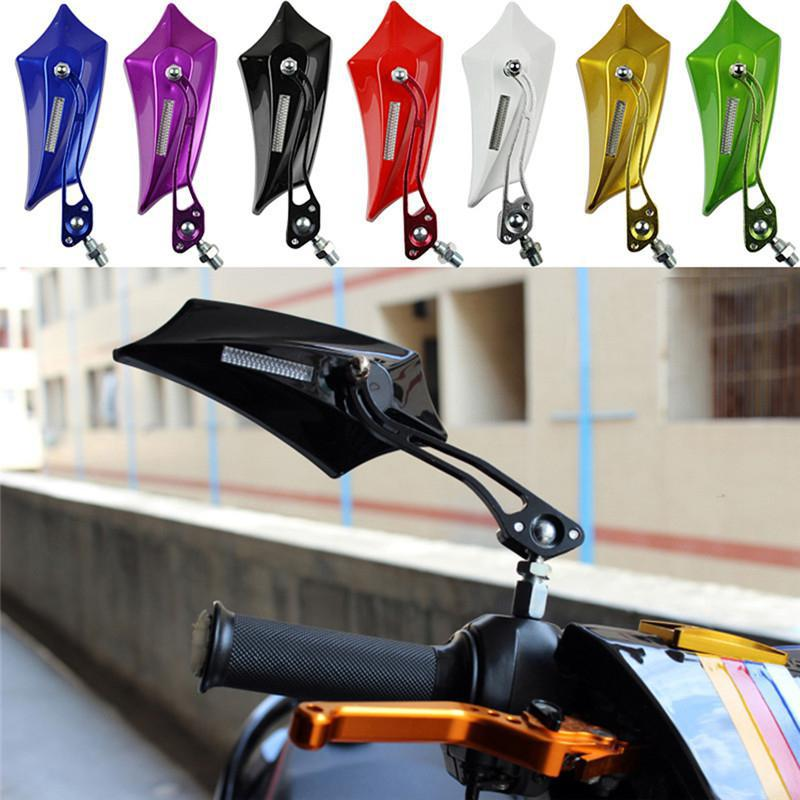 2pcs Universal Aluminum Alloy Motorcycle CNC Pit Motocycle Side Motorcycle Rear View Mirror White Cool Summer Holiday