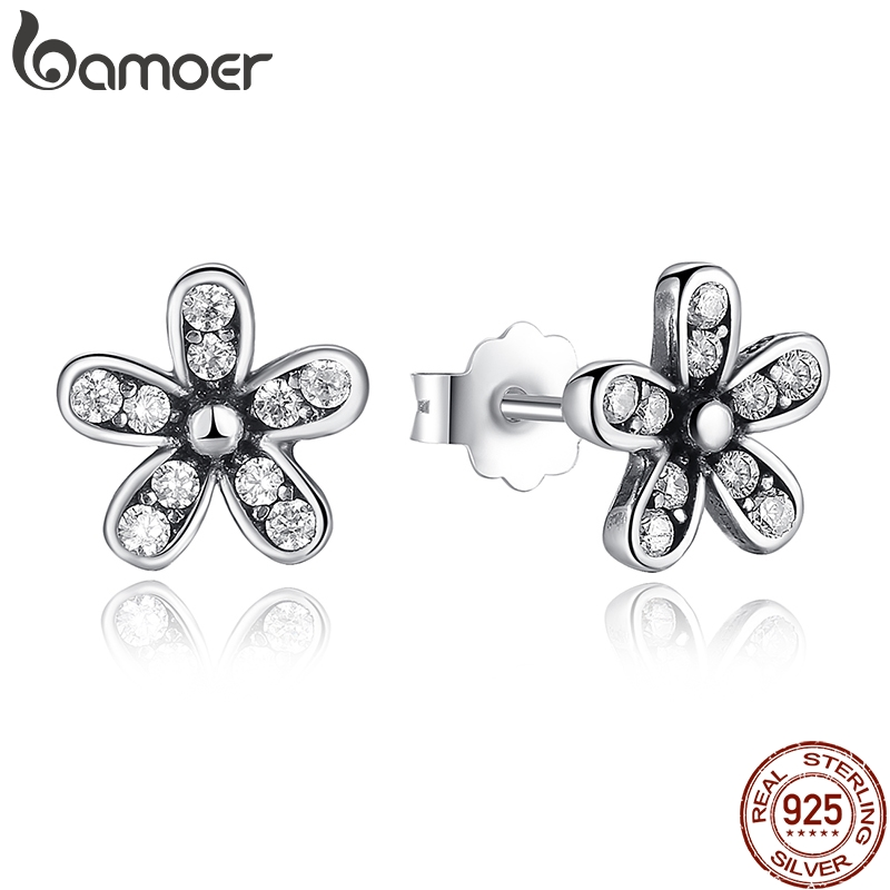 BAMOER Authentic 925 Sterling Silver Dazzling Daisy Stud Earrings With Clear CZ Jewelry ANNIVERSARY SALE 2018 PAS403 bamoer original 925 sterling silver dazzling daisy flower stud earrings for women jewelry pas434