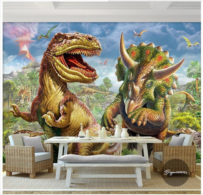 Us 1265 43 Offcustom 3d Photo Wallpaper 3d Murals Wallpaper Wall Paper Virgin Forest World Dinosaur Animal Child Oil Painting Wall Room Decor In
