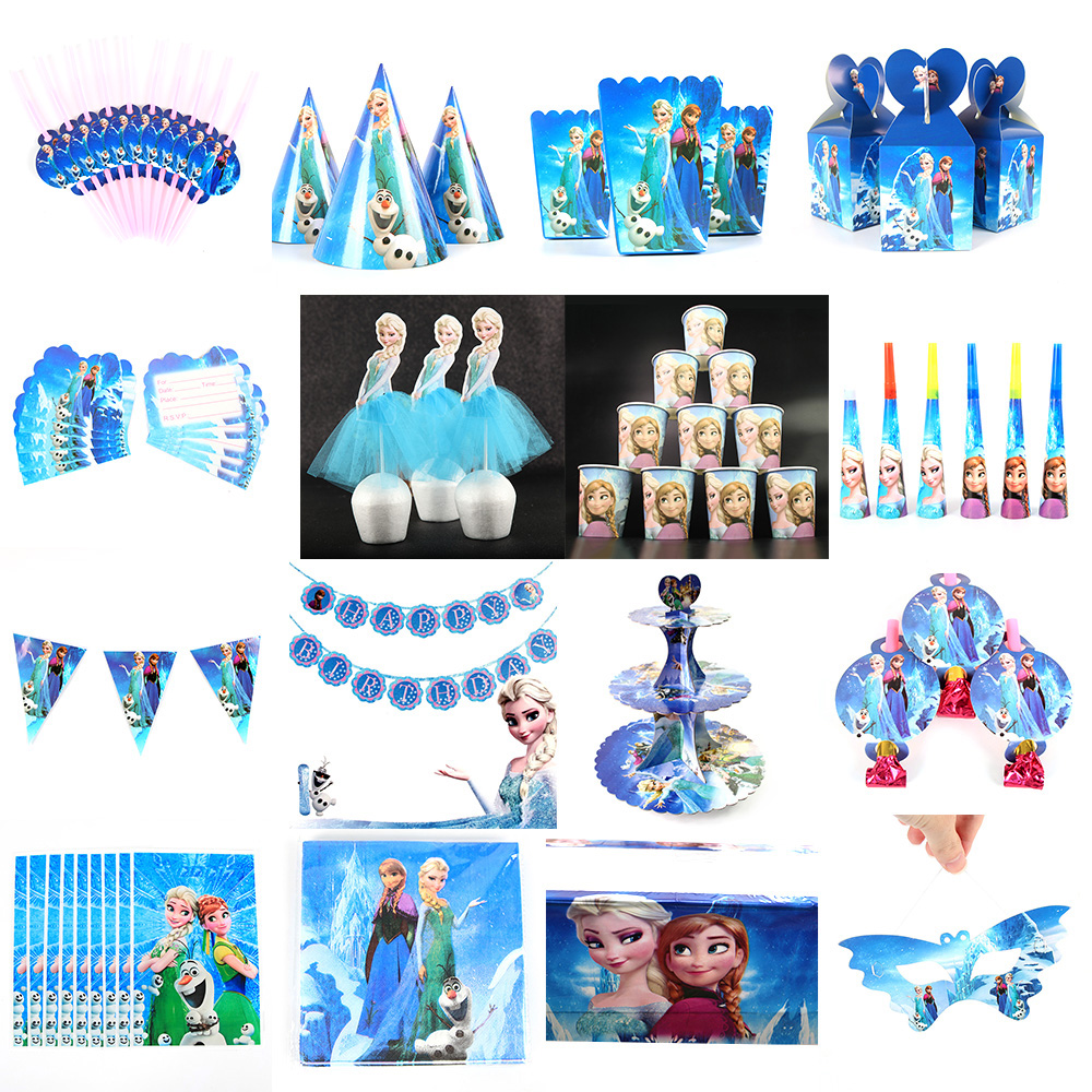 Disney Frozen Anna Movie Baby Birthday Party Decoration Kids Girl Party Supplies Party Tableware Set