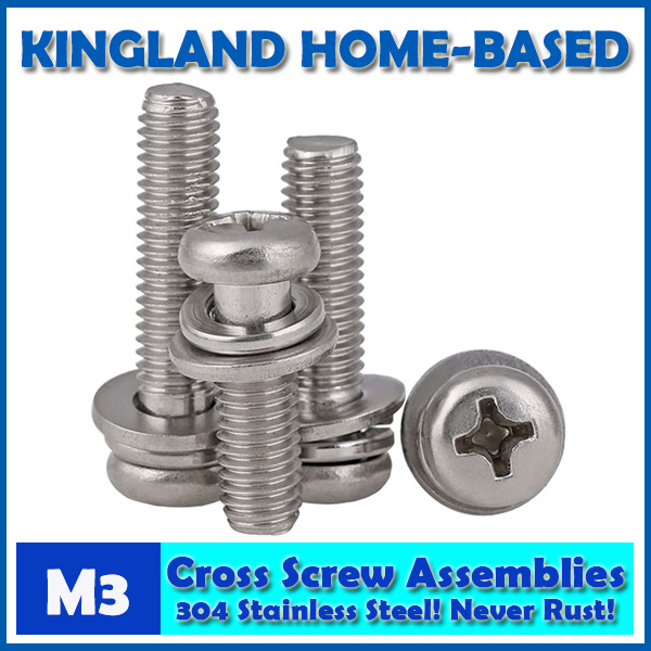 M3 GB9074.8 Phillips Cross Recessed Small Pan Head Screw Plain And Spring Washer Assemblies 304 Stainless Steel Machine Screws factory direct sales stainless steel hexagon socket head cap screw single coil spring lock washer and plain washer assemblies