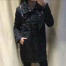2016 Aautumn Winter New Women Down&Parkas Long Full Sleeve Spliced beading Coat Plus Size Warm Women Cotton Coats