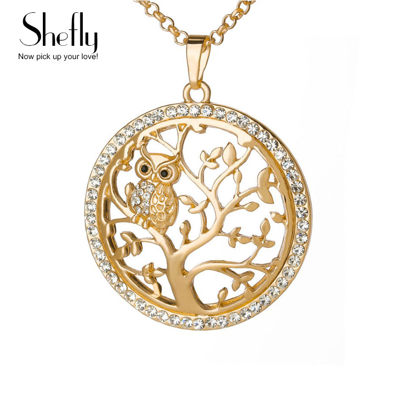 Small Owl Necklace Tree Of Life Pendant Rose Gold Women Sweater Chain Crystal Long Necklaces & Pendants Statement Jewelry Bijoux
