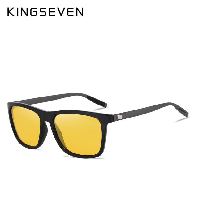 KINGSEVEN Polarized Men Women Night vision Sunglasses Yellow Lens Vintage Square Male Female  Sun Glasses High quality 2