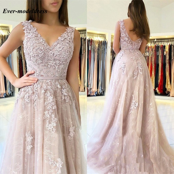 Bridesmaid     Dresses   2018 V-Neck Backless Lace Floor Length Wedding Guest Prom Party Gowns vestido de festa longo Cheap