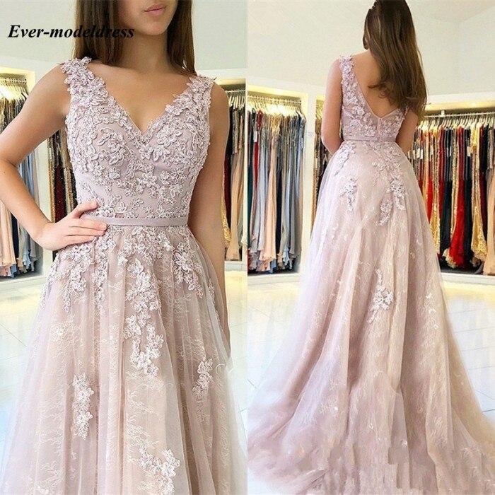 Bridesmaid     Dresses   2018 V-Neck Backless Lace Floor Length Wedding Guest Prom Party Gowns vestido de festa longo Cheap
