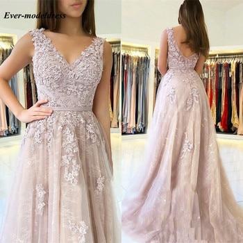 Long Bridesmaid Dresses 2020 V-Neck Backless Lace Floor Length Wedding Guest Prom Party Gowns vestido de festa longo Cheap