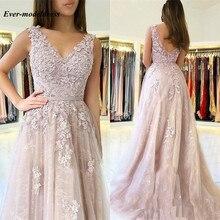 Long Bridesmaid Dresses 2020 V-Neck Backless Lace Floor Leng