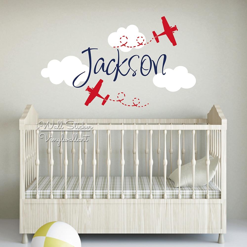 Us 15 29 Off Kids Name Wall Sticker Cartoon Airplane Decal Children Boys Stickers Baby Nursery Decals Cut Vinyl C61 In