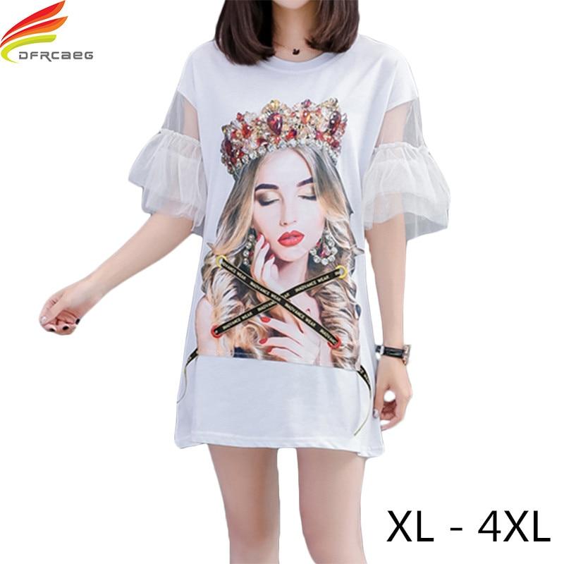 Plus Size XL - 4XL Women Black White Dress 2018 Summer Short Puff Sleeve Mesh Patchwork Big Size Women Character Elegant Dress