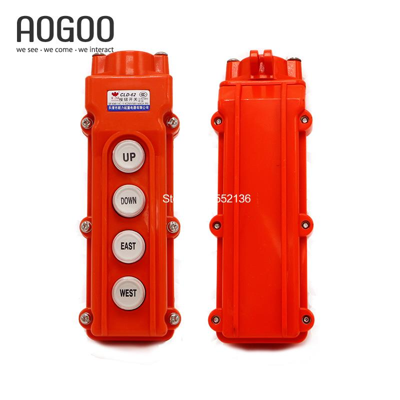 High Quality Silver Contact Waterproof Hoist Crane 4Ways UP/DOWN/EAST/WEST Directions CLD-62(COB-62)Pushbutton Swtich AC250/500V