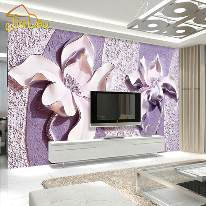 Customize Any Size 3D Relief Purple Magnolia Bedroom TV Background Wall  Paper Home Decor Living Room
