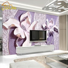 Customize Any Size 3D Relief Purple Magnolia Bedroom TV Background Wall Paper Home Decor Living Room Non-woven Mural Wallpaper(China)