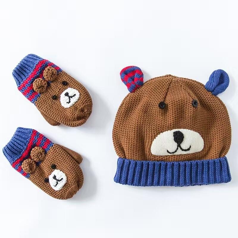 Bear Embroidery Toddler Hat Cotton Baby Hat +Gloves Set Crochet Baby  Beanies Kids Fall Winter Cap Handmade Windproof Earmuff Cap 24b77f954a15