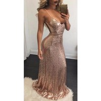 Sexy Backless Bandage Bodycon Dress Sparkly Party Elegant Floor Length Women Deep V Neck Rose Gold