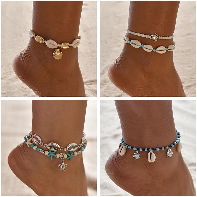 Anklets Jewelry Shell Leg-Chain Beads Bracelet Bohemian Handmade Sea-Turtle Multi-Layer
