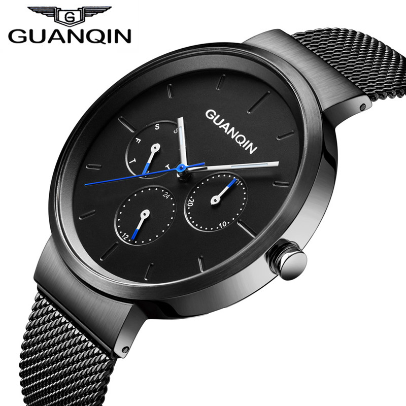 Top Brand GUANQIN Luxury Mens Watches Week Date Clock Stainless Steel Mesh Watchband Black Men Quartz Watch Relogio Masculino mens watches top brand luxury stainless steel mesh strap quartz watch men fashion black big dial style relogio masculino