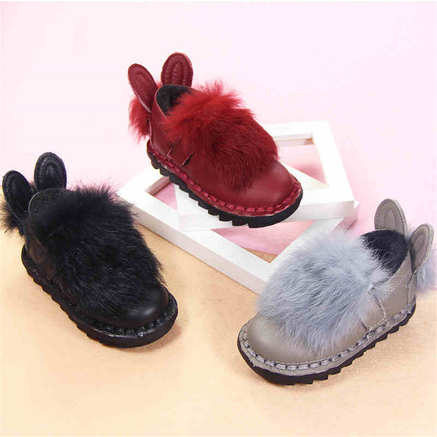 2017 Winter Warm Lolita Baby Girl Shoes Children Fur Plush ...