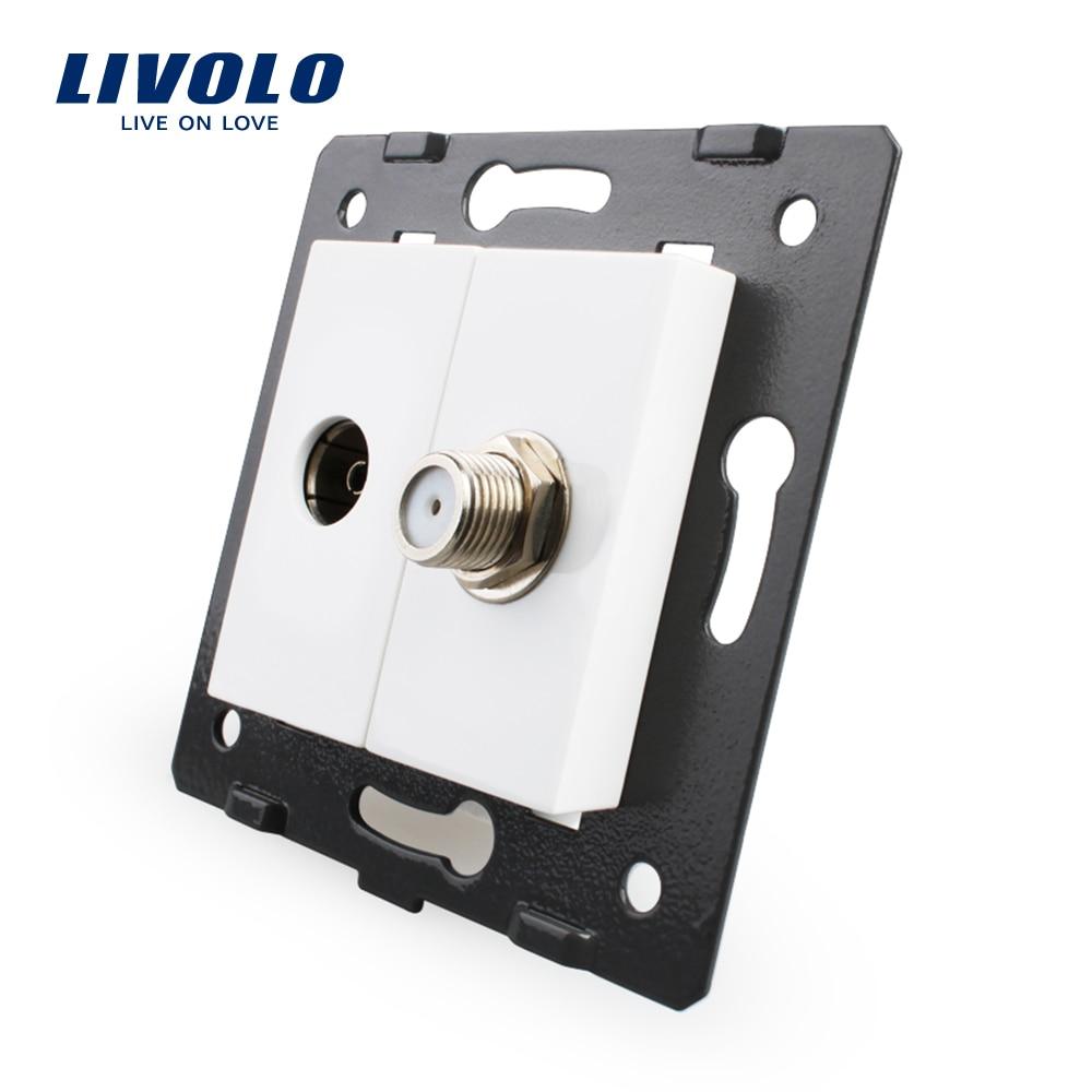 Accessoire de prise Standard Livolo EU pour produits de bricolage, la Base de prise TV + prise SATV VL-C7-1VST-11