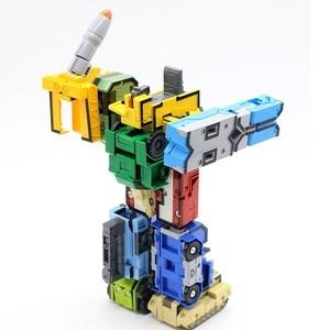 Image 5 - Briques créatives de ville, modèle de construction pour enfants, 15 pièces, transformateur Gudi, numéro de Robot, avion de déformation, voiture, jouet éducatif
