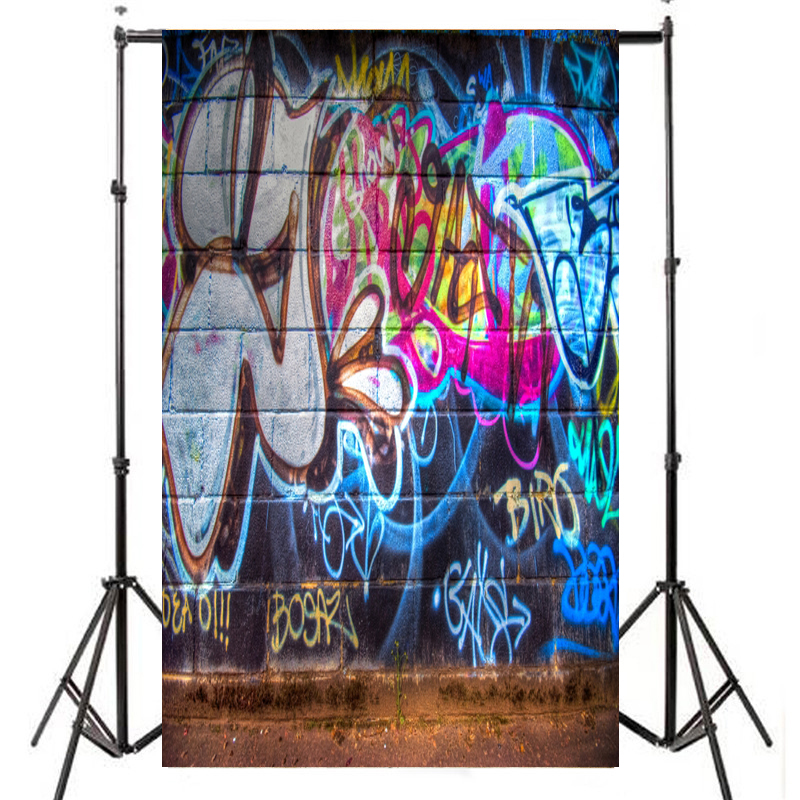 Free Shipping Fine Photography Vinyl Backdrops Print Digital Photo Background Fashion graffiti wall mopping the background
