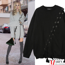 New Women Spring Long Sleeve O-Neck Tee Top Black Grey with Tassel Rope Button Hole Connect Casual Fashion T-Shirt Style 2083