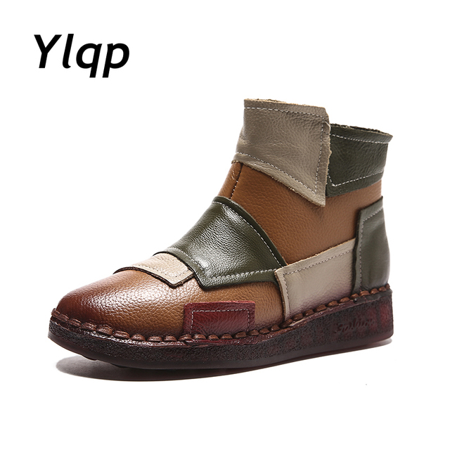Womens Winter Snow Boots 2018 booties Genuine Leather Shoes Woman Snowboots Ladies Ankle Boots for Women Flats botas mujer