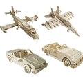 Обучения Интеллектуальные образовательные игрушки 3D модель самолета деревянные головоломки ручной работы Бивер Самолет дерево автомобиль самолет Дети самолет головоломки