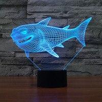 7 видов цветов Изменение акулы ночник лампы 3D сенсорный ночник для детей