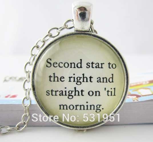 Wholesale Glass Dome Necklacepeter Pan Quote Necklace Jewelry