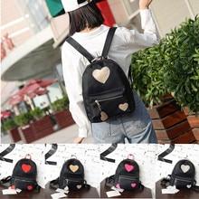 2017 Women lovely heart  girl Fashion Backpack Soft Solid Schoolbag Back Pack Leisure Bags School Travel Zipper Bag B#dropship