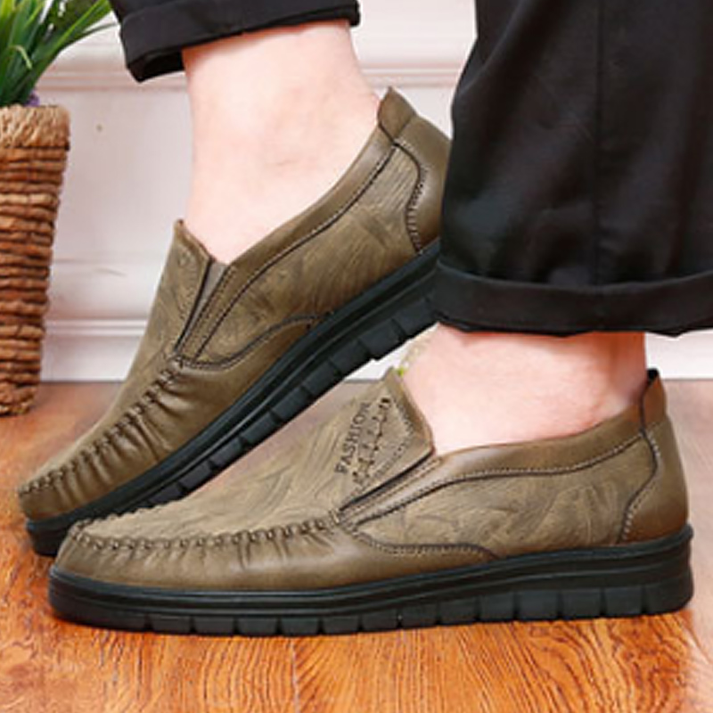 100% QualitäT Mann Schuhe Leder Echten Fabrik Outlets Classic Slip-on Schuh Plus Größe 45-48 Casual Wear-resistant Schuhe Zapatos De Hombre Im Sommer KüHl Und Im Winter Warm