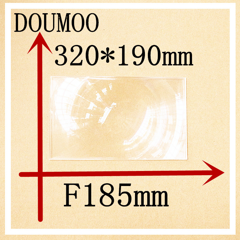 Large fresnel lens Rectangle 320*190 mm  Focal length 185 mm Condenser lens  Plastic fresnel lens Plane magnificat fresnel lens free shipping 400 300 f600 fresnel lens for diy projector condenser lens supports custom