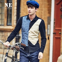 NE High Quality 2015 Men 53% Linen Full Sleeve Patchwork Slim Summer Young Man Leisure Shirts Square Collar Flax Plus Size Shirt